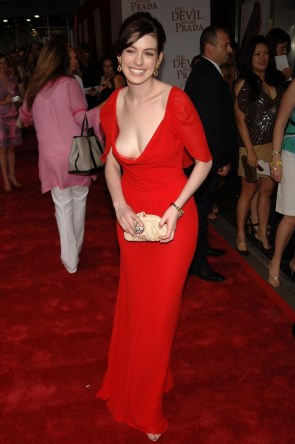 Anne Hathaway in a red dress
