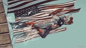 Captain America breaking windows