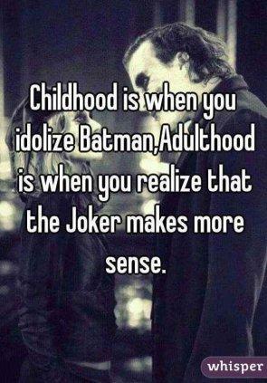 Childhood vs Adulhood batman metaphor