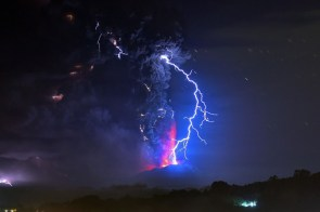 Lightning flash captured during the Calbuco Volcano's eruption in Chile