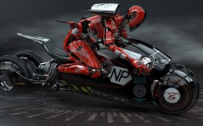 Ninja Robot on a Motorcycle