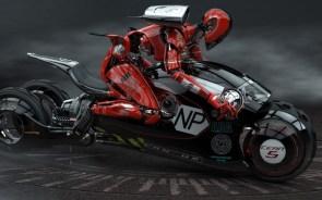 Ninja Robot on a Motorcycle