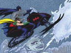 batman and robin in a snowmobile