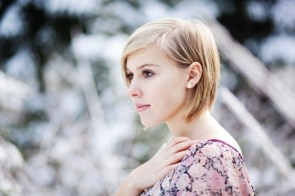 Blonde with flower earring