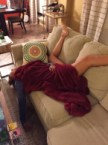 Drunk and falling off the couch