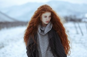 Red head in the snow