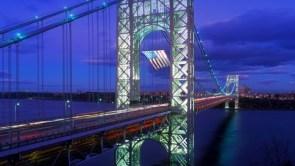 Old Glory flies over George Washington Bridge