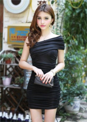 asian in black dress