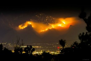 Mountain on fire in Tuscon, AZ