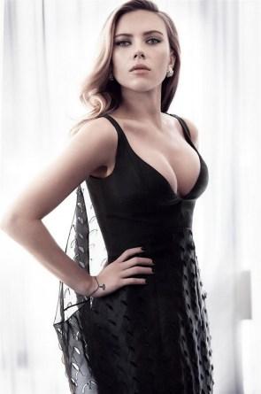 ScarJo in a black dress
