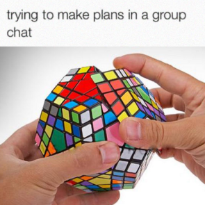 trying to make plans in a group chat