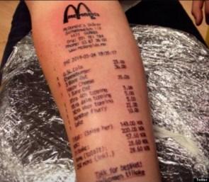 McDonalds Receipt Tattoo