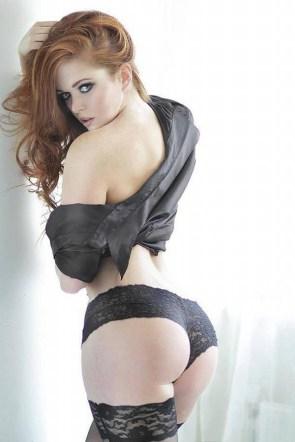 Red head in black undies