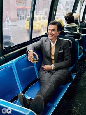 Stephen colbert on a bus
