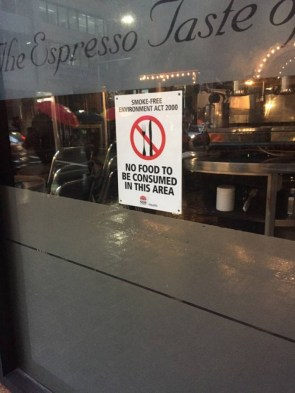 No Food Area of the restraunt