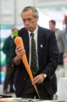 Sad man wiht a large carrot