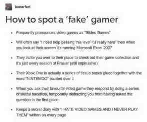 how to spot a fake gamer