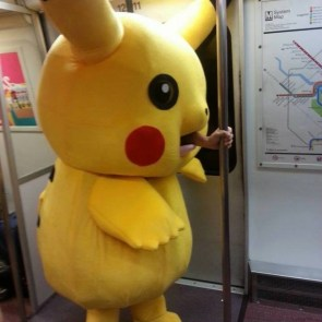 pokemon costume on the subway