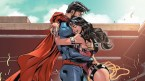 Bearded Superman gets a hug from wonder woman