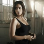 Chloe Bennet in a warehouse