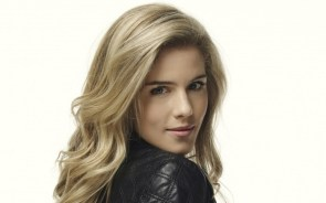 Emily Bett Rickards in a leather jacket