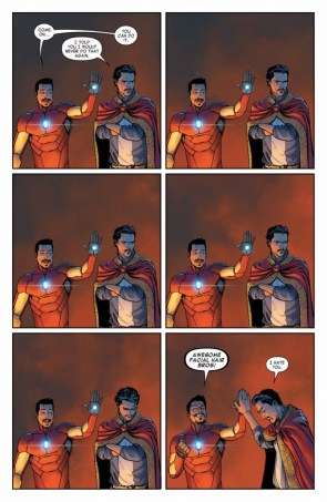 Iron man and Dr Strange share a high five