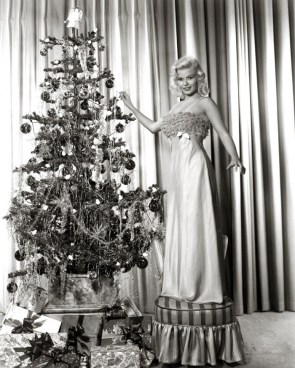 Jayne Mansfield with a christmas tree