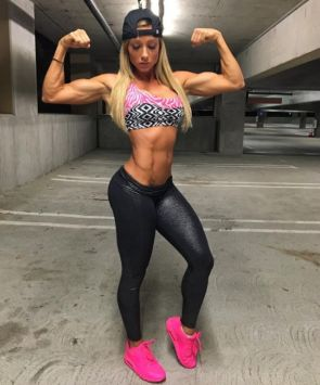 muscular woman with pink shoes