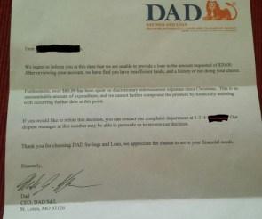 DAD Loan Denial
