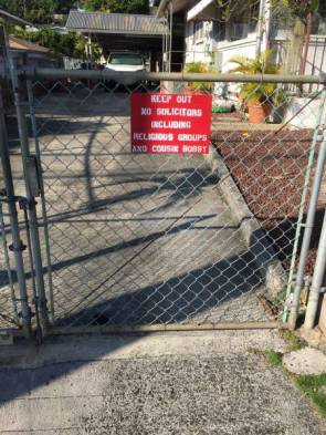 Keep out – no solicitors