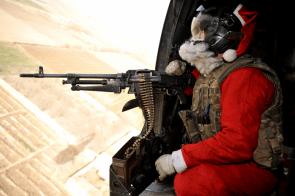 Santa Gunner in the sky