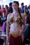 Slave Leia cosplayer in a crowd