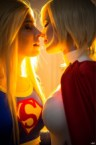 Supergirl and Power Girl about to kiss
