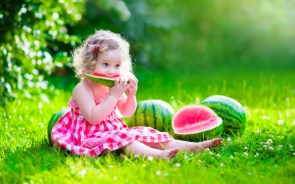 child eating watermellons