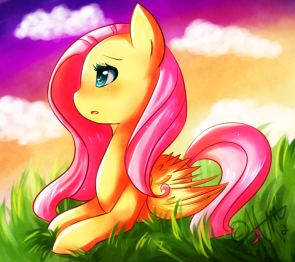 fluttershy at sunset