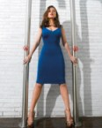 Haley Atwell – Blue Dress between poles