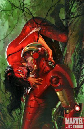 iron man kissin on Spider Woman