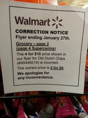 walmart correction notice