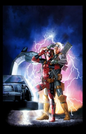 Deadpool and Cable in a Back to the Future image