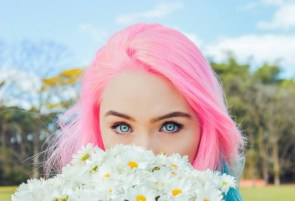 Pink hair and blue eyes