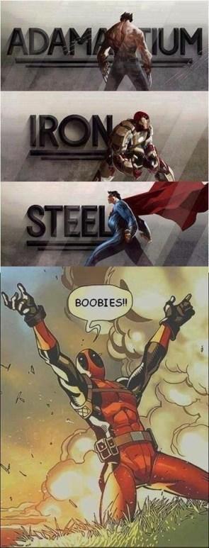 Wolverine, Iron Man, Superman, Deadpool