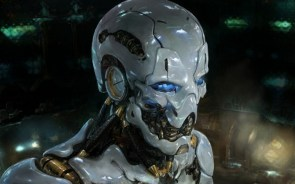 blue eyed skull robot