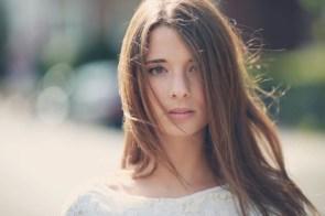 brunette in the wind