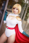 powergirl cosplayer by the window