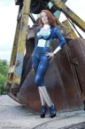 shiney woman by construction equipment