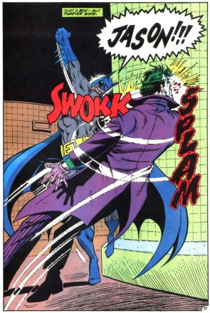 Batman punches joker while yelling JASON