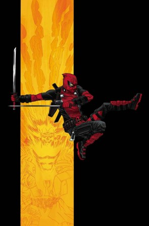 Deadpool jumping through flames