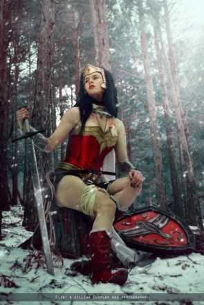 Wonder woman cosplayer with sword and shield