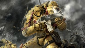 yellow space marine shooing bolter