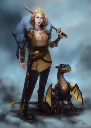 Hunter with Pet Dragon